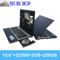 Brand New laptops 15.6 inch gaming laptop Intel Atom D2500 Dual core 1.86GHZ 2GB 250GB notebook computer A156 with DVD-RW HDMI(China (Mainland))