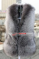 EMS Free Shipping  High Density Silver Fox Fur Vest &  Fox Fur  Waistcoat  Hot Selling With Wholesale Price.