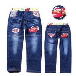 Free shipping!!Wholesale 5pcs/lot cars kid's jean cotton cowboy trousers/ children's jeans boy's pants baby jeans cartoons(China (Mainland))