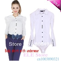 Free shipping!women's OL tops solid white long-sleeve body shirt 2013 cotton blends bodysuit shirts women,1018