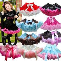 Retail 3M-15T Girls Pettiskirt Children Baby Black With Hot Pink Soft Chiffon Princess TuTu Skirt Kids Clothes Free Shipping