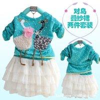 New children's wear children dress girl autumn day pack swan diagram children clothing baby set dreas + Free shipping