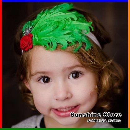Sunshine store #2B2241 5 pcs/lot(green red) baby headband children two flower feather headband starfish christmas headwear CPAM(China (Mainland))