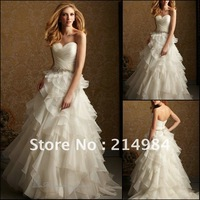 Free Shipping High Quality Best Selling White/Ivory Ball Gown Sweetheart Bridal Wedding Dress 2013