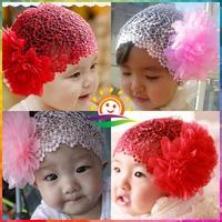 Sunshine store #2B1990  10pcs/lot(4 colors)embroid baby Headband hairband cream red pink white big flower princess headband CPAM