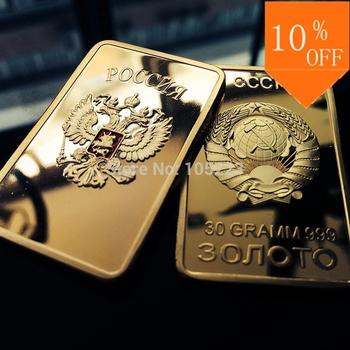 HOT SALE! Free shipping Retail RARE 1 OZ. SOVIET RUSSIAN USSR CCCP PURE .999 24K GOLD LAYERED INGOT BULLION BAR