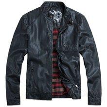 THOOO Wholesale New HOT GENTLEMEN'S Black pu leather classic fashion Slim Coat Motorcycle jacket szie M L XL 2XL 3XL 4XL 5XL(China (Mainland))