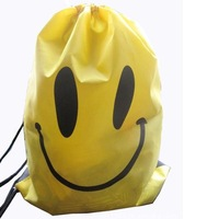 Z0014 Free Shipping 3colors smiley faces printed draw string backpack beach pouch swimming bag