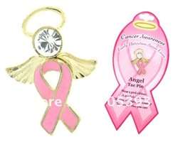 Free shipping (100 pcs/lot) Golden PINK RIBBON Breast Cancer angel tac pin(China (Mainland))