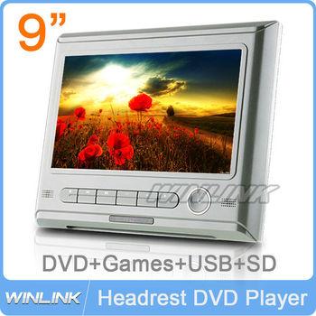 Free Shipping, 2015 New HD Screen Tablet Car Headrest DVD Player+DVD Disc,Video/Music Player,FM,IR,SD,USB