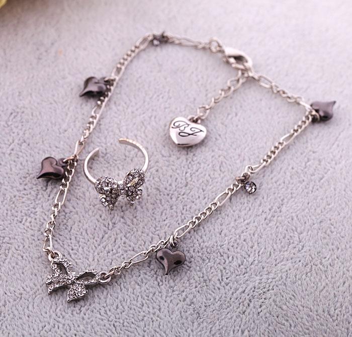 Ri012 de plata de moda arco mujer exquisita tobilleras corazón anillo ...