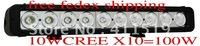 "cheap ship17"" inch super light 8600 lm USA CREE 10WX10 100W LED light bar driving off-road light ATV headlight"
