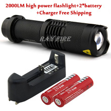 CREE XM-L T6 2000 Lumens 5 Mode Zoomable Led Flashlight torch + 2 * 18650 Rechargeable Battery + Charger(China (Mainland))