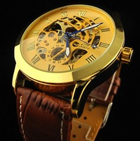Free Shipping 2013 Fashion HOT Automatic Mens watch Gold Brand Luxury Skeleton Wrist Watch Black Brown Leather Band Design gift