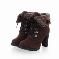 Vintage wedges round toe two ways high-heeled platform snow boots for women winter free shipping