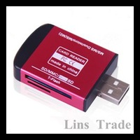 Free shipping New USB 2.0 card reader 4 in 1 aluminum alloy multi card reader for M2 MS TF SD MMC #8034