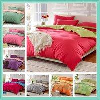 100% Cotton 4 Piece Bedding Set Duvet Cover Contrast Comforter Set Queen / King Size 20 Colours