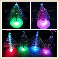 Free Shipping! 10pcs/lot The Christmas decoration cute round chassis fiber optic LED Christmas tree best gift for Christmas