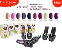 Free shipping 12pcs/lot soak off  UV gel LED lamp cure nail manicure easy off uv gel polish P101-P110