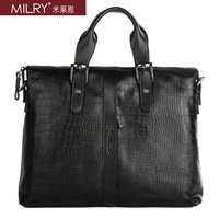 MILRY 100% Genuine Leather Business men Briefcase messenger shoulder laptop bag crocodile pattern Free shipping CP0011-1