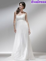 Real Sample Sleeveless Sweetheart Applique Beaded Train Lace Up Chiffon Of Women Maternity Apparel Pregnant Wedding Dress