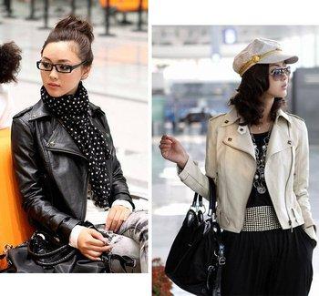Autumn Женщины Rivets Lapel Slim Leather Jacket