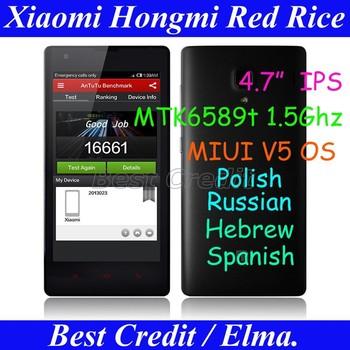 "Original Xiaomi Hongmi Red Rice MTK6589t 1.5GHz mobile phone quad core 1GB+4GB 4.7"" IPS HD Multi-language GSM WCDMA stock!/ELMA"