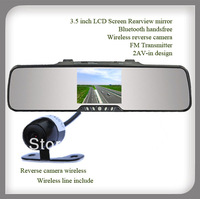 Bluetooth Car rearview mirror with 3.5 inch monitor,Input Video wire ( 2 AVIN )