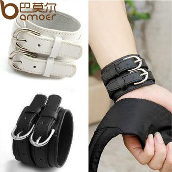 2013 Модный Double Belt Leather Wrist FriendsТаз Bracelet Buckle Punk Jewelry PI0268