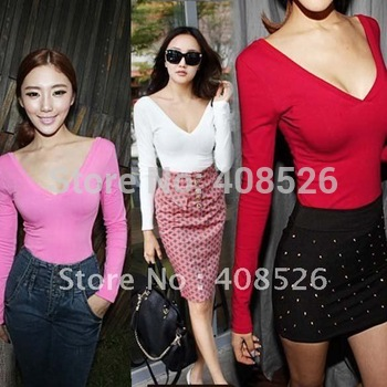 Women's Shirt Candy Color Sexy Long Sleeve Low V-neck Backless Bottoming T-Shirt Black, White, Red, Pink Free shipping 7999