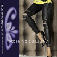 Free Shipping ML7571 New Arrival  Sexy Seamless Leggings For Women Zipper Cut Off Design Black Leggings Leather