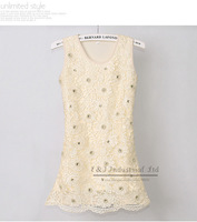2014 Summer Girl Dress Cream Carved  Flower Kids Party Dresses for Children Clothing 4PCS/LOT GD21026-05^^EI