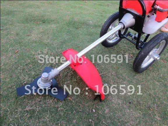 2 stroke gasoline petrol wheel brush grass cutter trimmer handle mower 1.6kw hand push cleaner wheeled string trimmer(China (Mainland))