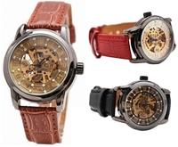 2014 New Ladies Fashion Automatic Mechanical Wrist Watches Women Dress Leather Watch / Wristwatches Inlaying Rhinestone