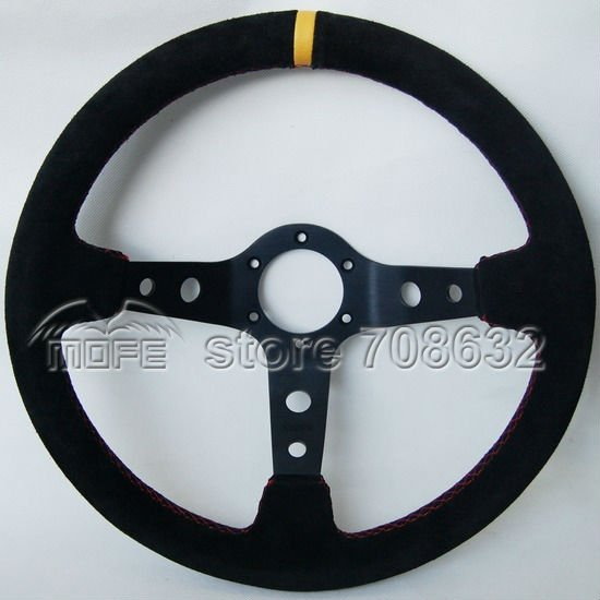 SPECIAL OFFER HOT SALE Original Logo 90mm Deep Corn Dish 350mm Suede Leather Racing Car Steering Wheel(China (Mainland))