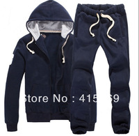 Male polo cardigan with a hood 100% cotton sweatshirt set male casual set spring and autumn