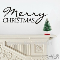 [B.Z.D] Free Shipping WALL'S MATTER  Christmas Decor Merry Christmas Wall Stickers Wall Quote Decals 100x40cm