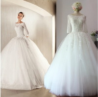 Real Sample New Arrival Amazing Elegant Long Sleeves Wedding Dresses Crystal Beaded Wedding Gowns Lace Wedding Dresses 2015