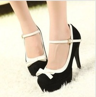 2014 new women's sweet bow knot high heel autumn shoes Korean Princess round shoe type T band suede design  free shipping
