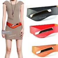 2014 Fashion Womens Cowskin Metal Mirror Elastic Waist Belt  , Vintage Genuine Leather Wide Black Red Dress  Belts For Women