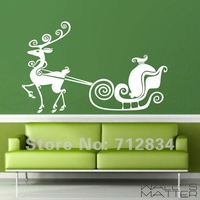 [B.Z.D] Free Shipping WALL'S MATTER  Christmas Decor Santa Claus is Coming Wall Stickers Wall Quote Decals 115x70cm
