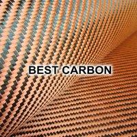 High quality Red Hybrid Carbon Fabric , Carbon-Aramid Fabric  ,Carbon-Kevlar Fabric