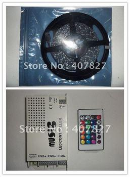 Christmas light 15M LED Strip RGB SMD 3528 Non-Waterproof+IR Music Controller Sound Sensitive 108W DC12V+ 2A 24W Power EU Plug