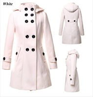 Wool Coat Holiday Sale  Winter Warm Jacket Outdoor Double Breasted Overcoat Hoodied Outerwear Trench Coat