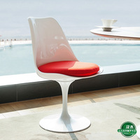 REPLICA EERO SAARINEN TULIP CHAIR - FIBREGLASS, LEATHER CUSHION
