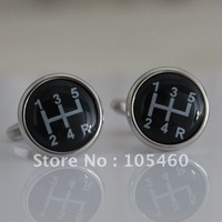Silver Black Gear Shifter Car Auto Racing Unique Wedding Groom Men Cuff Links Business Silver Cufflinks For Mens