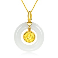 ZOCAI NATURAL HETIAN NEPHRITE WHITE JADE 24K YELLOW GOLD LAUGHING BUDDHA CIRCLE PINGAN KNOT PENDANT + 925 STERLING SILVER CHAIN