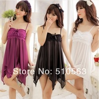 sy010 Free shopping 1pcs 3color sexy temptation female cute condole belt of bud silk underwear nightgown opaque silk pajama
