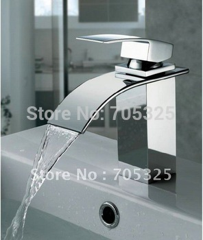Wide Spout Brass Chrome Finish Basin Mixer Vanity Tap Waterfall Bathroom Faucet Single Handle Single Hole Deck Mounted AD-1092