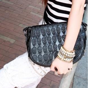 2014 Punk rivet fashion street style skull Bags Women shoulder messenger bag PU Purse female handbags Free drop Shipping NB0114